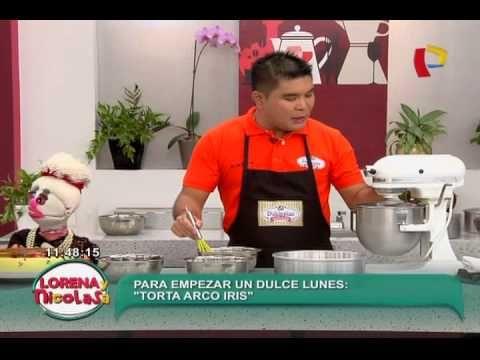Lorena y Nicolasa te enseña la verdadera receta de la torta helada arco iris - YouTube