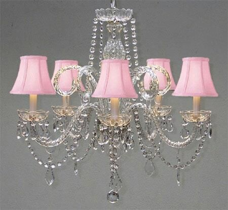 <pink and christal chandelier for bed or bath would be cute