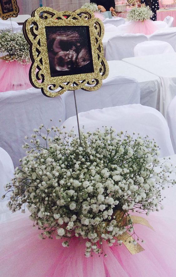 Baby shower centerpieces with ultrasound.