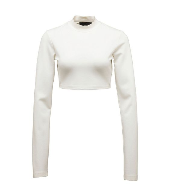 White Long Sleeve Cropped Neck Top