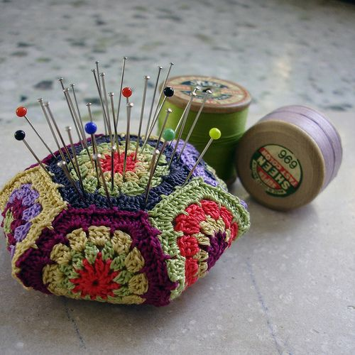I must crochet one of these hexagon pincushions! Quick, easy & makes me smile!