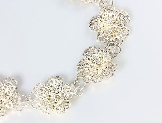 Vintage Filigree Flower bracelet spun sterling silver by RMSjewels