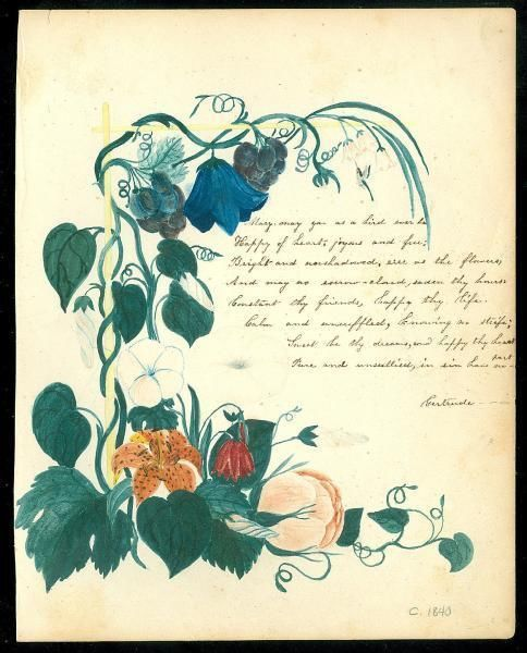 Vining Floral Decorated Watercolor Page Border Hand Penned Frienship Verse c1840