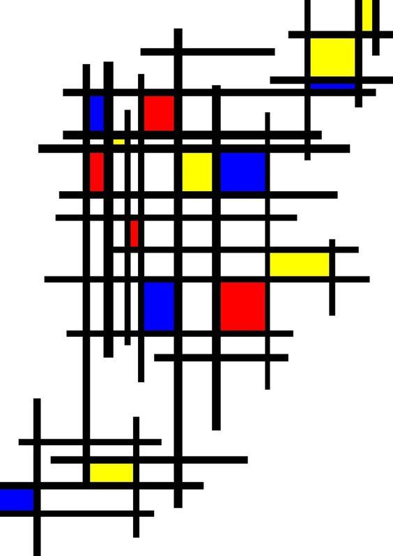 de stijl: kunstenaars streefde naar een universele uitbeeldingsvorm, dus in ieder land hetzelfde! De rechte lijn en de primaire kleuren naast zwart wit en grijs waren hierin belangrijk! Dit is terug te zien in dit schilderij op het grijze na