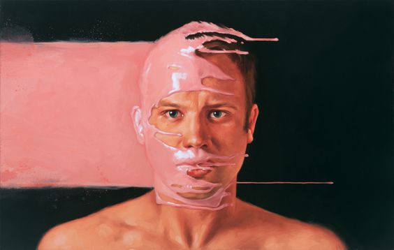 """Gavin Castleton, for the album, """"Won Over Frequency"""". 18"""" x 28"""", oil on canvas. 2010 Aaron Nagel"""