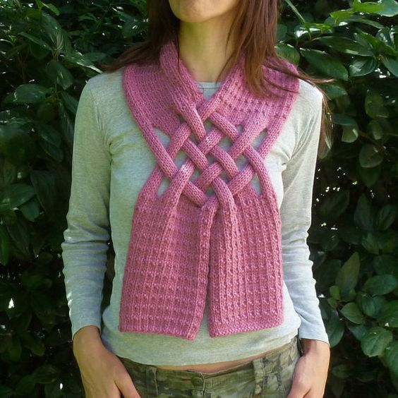 Scarf Knitting Pattern Weave - PDF ebook how to easy Knit Pattern - unisex ad...