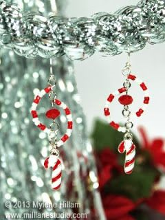 Candy Cane Swirl earrings - Twelve Days of Christmas - Day 6