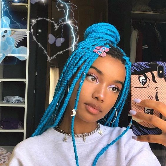 box braids crochet braiding xpression hair blue color updo hairstyle