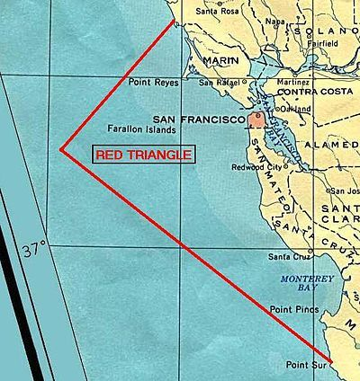 Red Triangle (Pacific Ocean) - Around thirty-eight percent of recorded great white shark attacks on humans in the United States have occurred within the Red Triangle — eleven percent of the worldwide total.