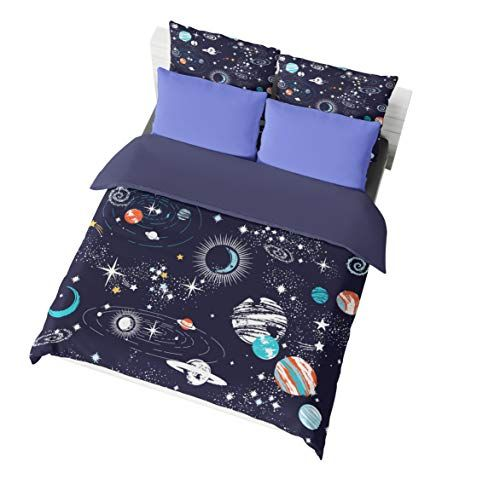 Jwellking Fantasy Outer Space King Size Bedding Set Lots Of Stars Printed In Dark Blue Duvet Cover Duvet Space Bedding King Size Bedding Sets Duvet Cover Sets