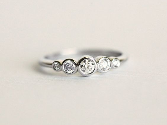 Diamond bezel set ring  This listing is for 14k white gold diamond bezel set ring. This ring is designed for those who love simplicity and elegance.