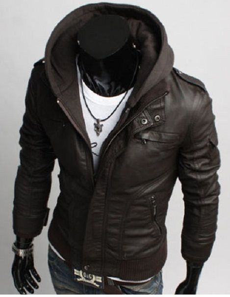 Men's Leather Jackets Korean Style Casual Slim Fit Men fabric ...