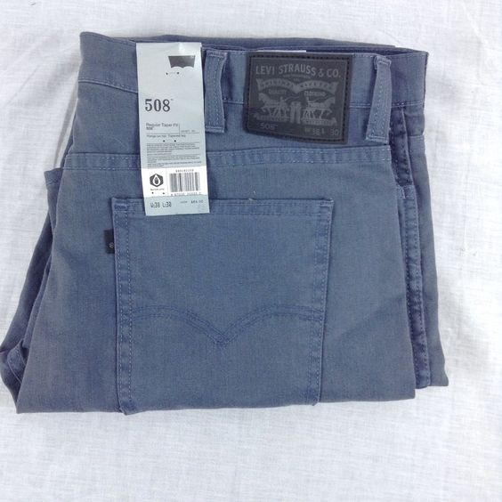 Levis 508 Jeans Regular Taper Fit Black Label Blue Gray Men Size ...