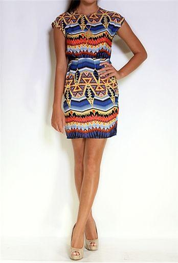 Aztec Print Capsleeve Dress