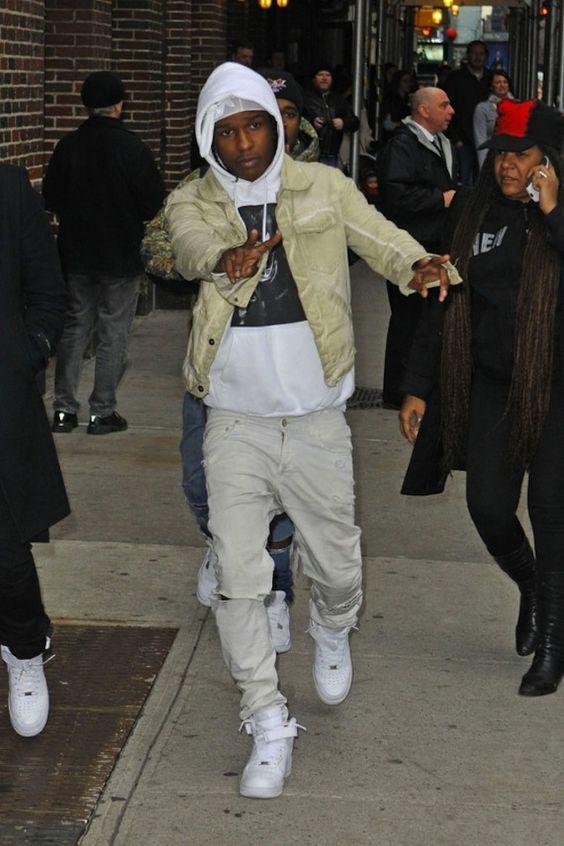 aap rocky wearing nike air force 1 high sneakers