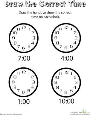 math worksheet : analog clocks draw the time  worksheets worksheets for  : Worksheet On This And That For Kindergarten
