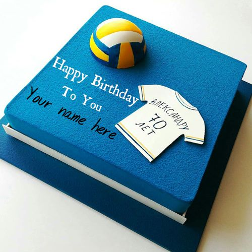 Amazing Volleyball Sports Theme Birthday Cake With Name On It With Images Personalised Birthday Cards Beptaeletsinfo