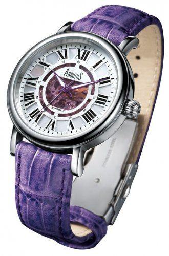 ARBUTUS AR306SVV - Reloj para hombres, correa de cuero color morado