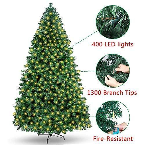 Ourwarm 7ft Pre Lit Pvc Artificial Christmas Tree Xmas Pine Tree Holiday Decorat 7ft Artif Artificial Xmas Trees Metal Christmas Tree Christmas Tree Themes