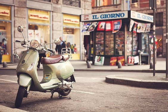 Milan, Italy - Bianca uses a Vespa similar to this one in a scene in REDEMPTION.