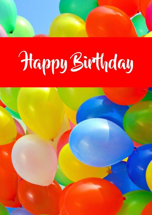Happy Birthday Greeting Card Balloons Colored Happy Birthday Greetings Birthday Greeting Cards Birthday Greetings
