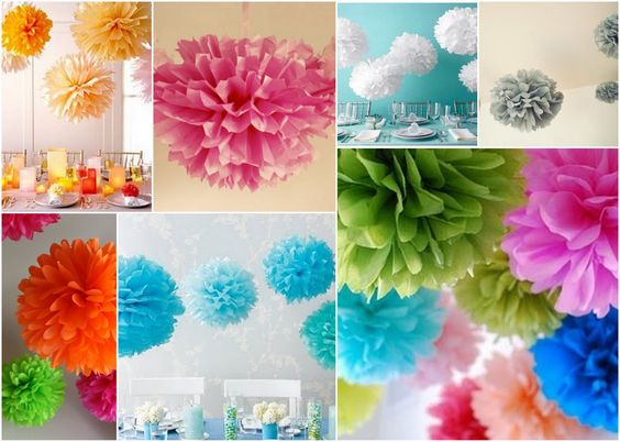 Tutorial: DIY Tissue Paper Pom-Poms ...my daughters love these!!