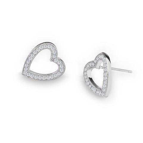 Girls Heart Crystal Ear Studs 925 Sterling Silver