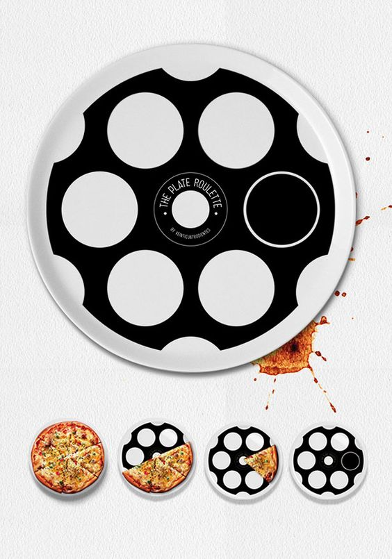 Plate Roulette. Decide who pays for dinner by playing a game of Russian Roulette with your pizza slices.