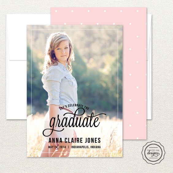 Celebrate the graduate with this classic and simple graduation announcement from Printed Ink.