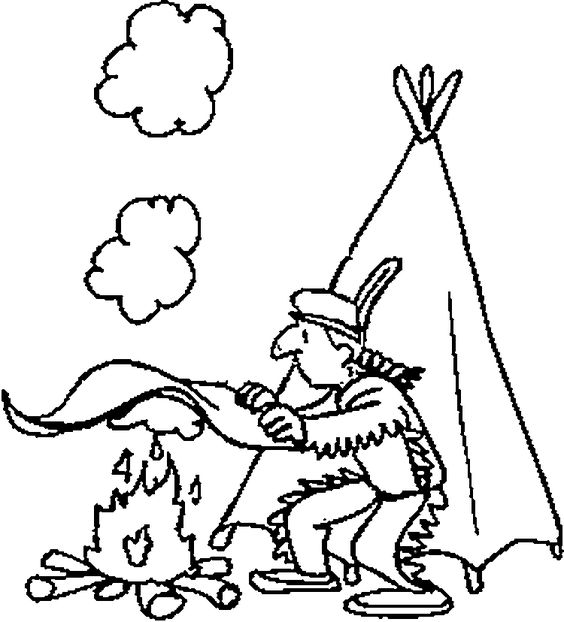 Kid coloring pages indians