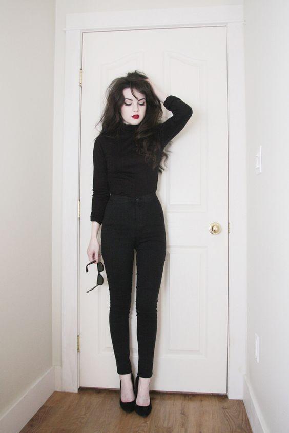 outfits negro zapatos tacon