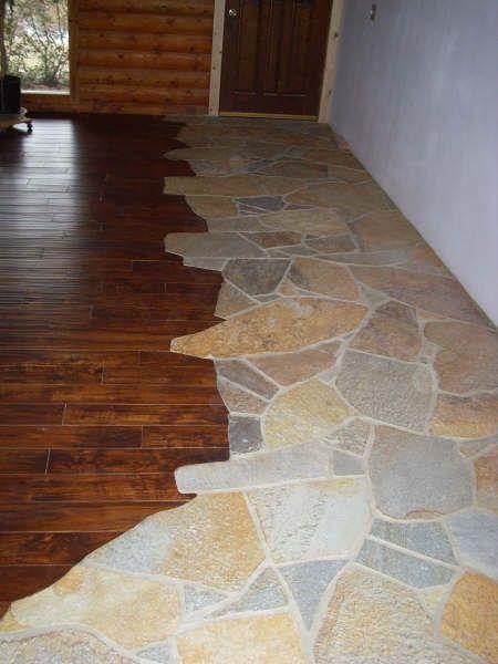 Pebble Flooring Transition Stone To Wood Flooring