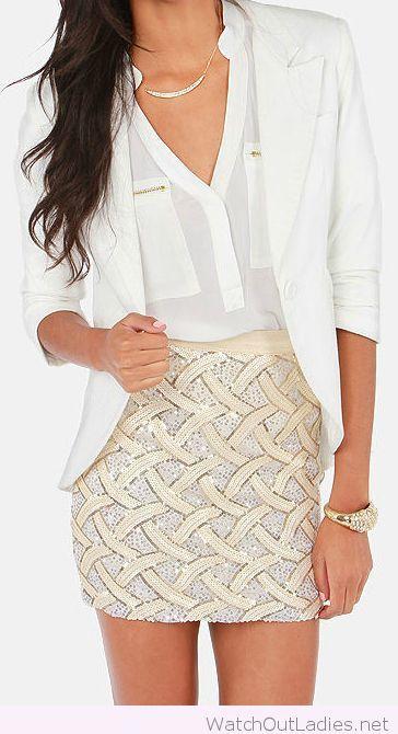Amazing cream sequin skirt