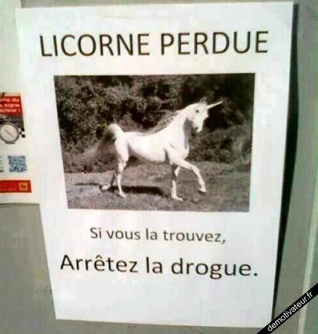 Licorne perdue-Arrêtez la drogue !: