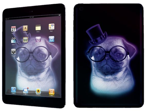 Black, Purple and White {Magical Fancy Pug} Front and Back Full Body Adhesive Vinyl Decal Sticker for iPad Mini 1st Generation Models A1432, A1454 and A1455 (No Air Bubbles - Removable Residue Free Skin}