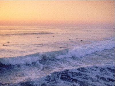 Surfers, Mission Beach, San Diego, California Lámina fotográfica por James…