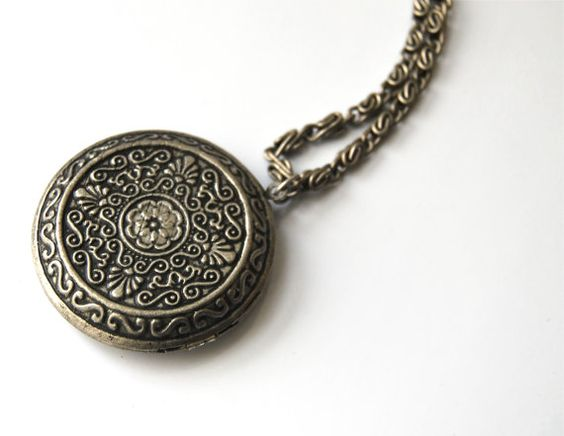 Long Pewter Color Memories Locket Necklace/ Photo Keeper /Mantras /byZULLIdesigns /ZULLI - Womens Jewelry Holiday Gifts //Christmas Gifts