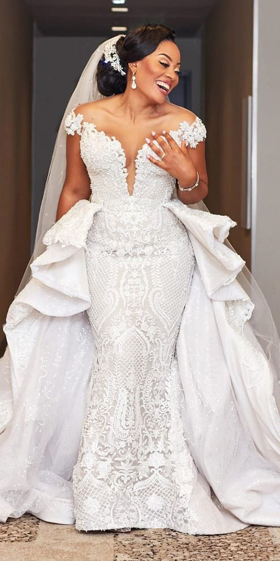 lace plus size wedding dresses mermaid off the shoulder with overskirt eseazenabor