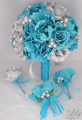 17pcs Wedding Bridal Bouquet Set Silk Flower Decoration Package TURQUOISE SILVER