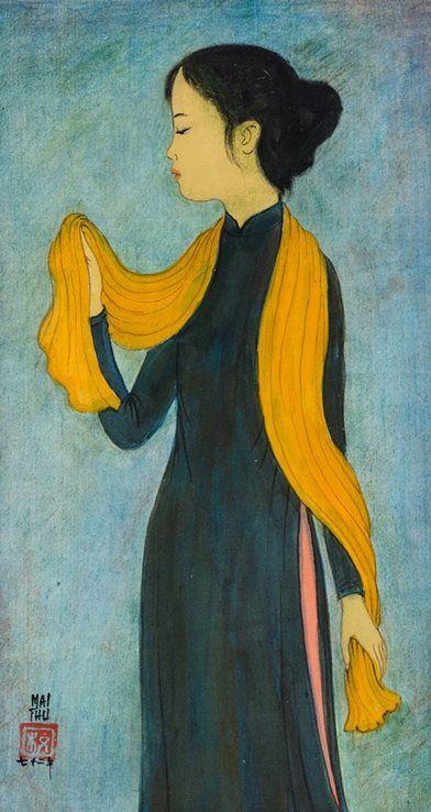 """""""Une Fille Avec L'Echarpe Jaune"""" (1972) by Mai Trung Thu"""