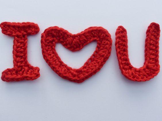 Dos namorados AppliqueCcroché 'Eu Te Amo'-  /   Valentine Crochet Applique 'I Love You' -