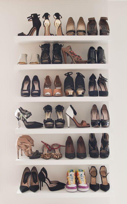 Floating shelves for shoes. You could use the Lack shelves from IKEA or  floating shelves from Target, Home Depot | Shop Inspiration | Pinterest |  Lack shelf ...