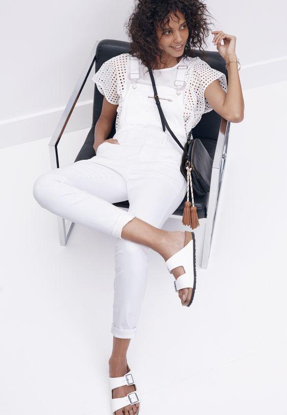 madewell denim side-zip overalls worn with the eyelet floatweave top, twin-pouch crossbody + birkenstock® arizona sandals.