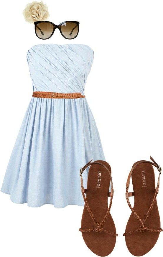 Pale blue strapless dress toned down with flat sandals and a thin braided belt.