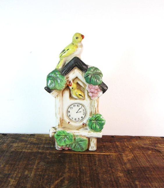 Antique Porcelain Ceramic Wall Pocket Made In Japan Bird