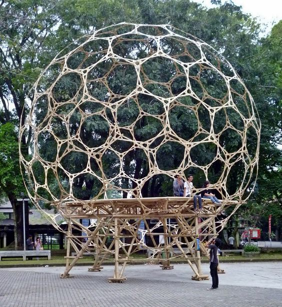 Some at Bamboo shelter project, a mega project of building earthquake-resistant structures shaped ball made of bamboo, at the Bandung Institute of Technology (ITB), Bandung, West Java, Indonesia, Sunday,