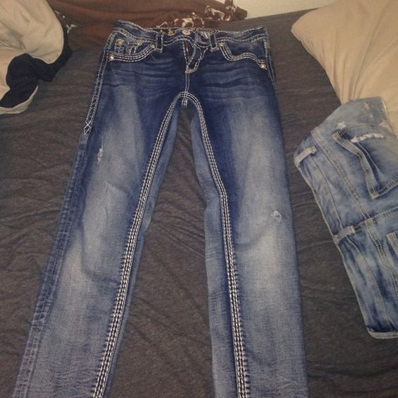 Rock revivals Skinny dark and light rock revivals good condition Rock Revival Jeans