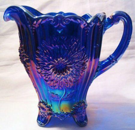 Amazon.com: Cobalt Blue Carnival Glass Footed Dahlia Lemonade Pitcher: Home & Kitchen