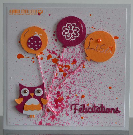 Carte de félicitations naissance ballons et hibou Octobre 2014 #Createdbyemmanuelle