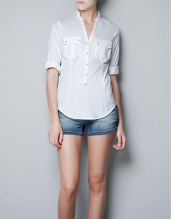 zara hemd Bluse weiß mit goldenen Nieten